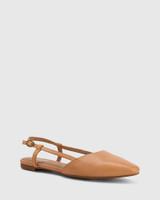 Edelpha Tan Leather Flat Slingback Sandal.