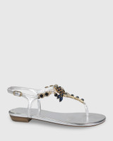 Sparkla Silver Leather Jewel Detail Flat Sandal.