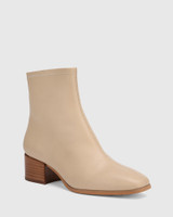 Olyvier Ecru Leather Soft Leather Ankle Boot.