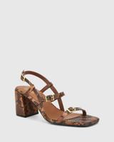 Charlton Brown Anaconda Print Leather Block Heel Sandal.