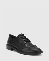 Canan Black Leather Pin Punch Lace Up Leather Brogue.