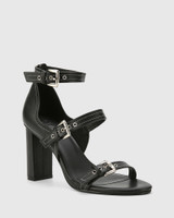 Richie Black Leather Open Toe Block Heel Sandal.