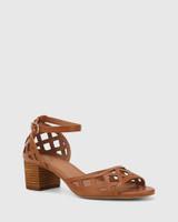 Imani Tan Leather Block Heel Sandal.