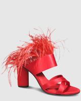 Rhiannon Red Satin Feather Open Toe Heel.