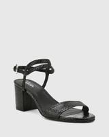 Neoma Black Mini Snake Print Leather Open Toe Block Heel Sandal.
