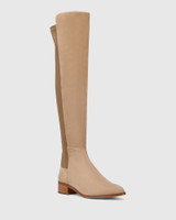 Gianna Camel Suede Leather/Neoprene Stretch Over The Knee Boot