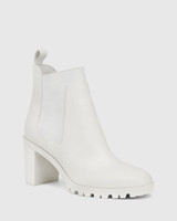 Purcell White Leather Block Heel Ankle Boot