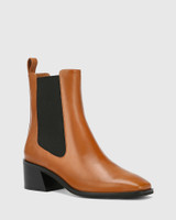 Orleans Brandy Leather Elastic Gusset Ankle Boot
