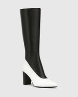 Hollow White And Black Leather Block Heel Long Boot