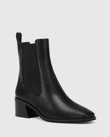 Orleans Black Leather Elastic Gusset Ankle Boot