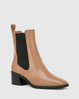 Orleans Cappuccino Leather Elastic Gusset Ankle Boot