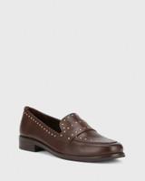 Emelian Chocolate Leather Stud Detail Loafer.