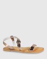 Farida Rose Gold Leather Open Toe Flat Sandal.