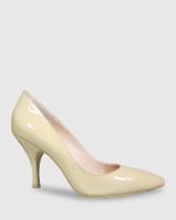 Julienne Honey Patent Almond Toe Mid Heel.