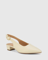 Andres Buttercream Leather Pointed Toe Low Heel Slingback.
