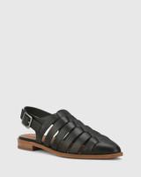 Edgar Black Leather Closed Toe Flat Sandal.