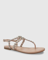 Kezia Nude Leather Silver Stud Flat Sandal.