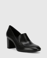 Galis Black Nappa Leather Block Heel Almond Toe Loafer .