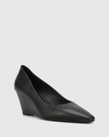 Pollie Black Leather Snib Toe Wedge Heel.