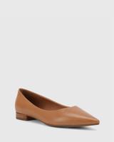 Marina Tan Leather Pointed Toe Slip On Flat.