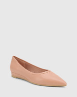 Almara Petal Pink Leather Pointed Toe Wedge Flat.