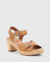 Kalika Tan Leather Wooden Block Heel Sandal.