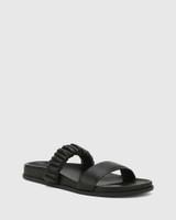 Burgess Black Nappa Leather Flat Sandal .