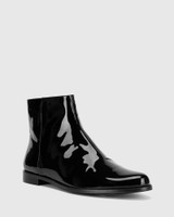 Brenson Black Patent Leather Low Ankle Boot.