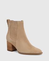 Kole Camel Suede Leather Block Heel Ankle Boot