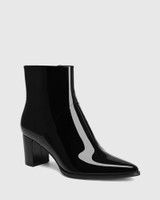 Deborah Black Patent Leather Block Heel Ankle Boot