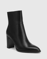 Hewitt Black Leather Block Heel Ankle Boot