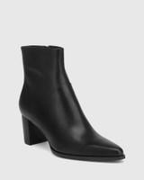 Deborah Black Leather Block Heel Ankle Boot