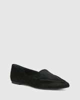 Packhamm Black Hair-on Leather Pointed Toe Loafer
