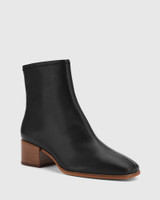 Olyvier Black Soft Leather Ankle Boot.