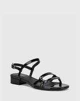 Brigita Black Patent Leather Block Heel Sandal.