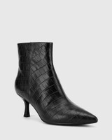 Derova Black Croc-Embossed Leather Stiletto Heel Ankle Boot