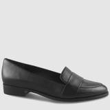 Heaton 2 Black Leather Almond Toe Loafer.