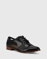 Hektor Black Leather Mesh Cut Out Brogue.