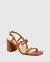 Charlton Bourbon Leather Block Heel Sandal.