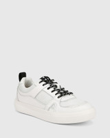 Oswald White Leather & Mesh Lace Up Sneaker
