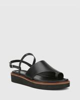 Tahoe Black Leather Open Toe Flat Sandal.