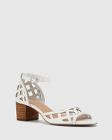 Imani White Leather Block Heel Sandal.