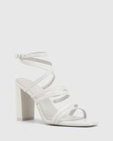 Radical White Leather Block Heeled Strappy Sandal