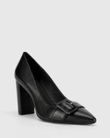 Hamzel Black Nappa Leather Buckle Block Heel
