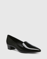 Atkins Black Patent Leather Pointed Toe Low Heel Loafer