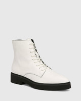 Carlina White Leather Lace Up Ankle Boot