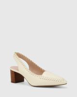 Levana Buttercream Leather Slingback Block Heel.