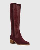 Juliet Wine Suede Leather Croc-Embossed Long Boot