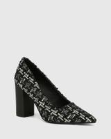 Webster Black Tweed Boucle Block Heel Pointed Toe Pump