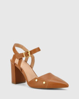 Salvadore Brandy Leather Pointed Toe Hardware Detail Pump.